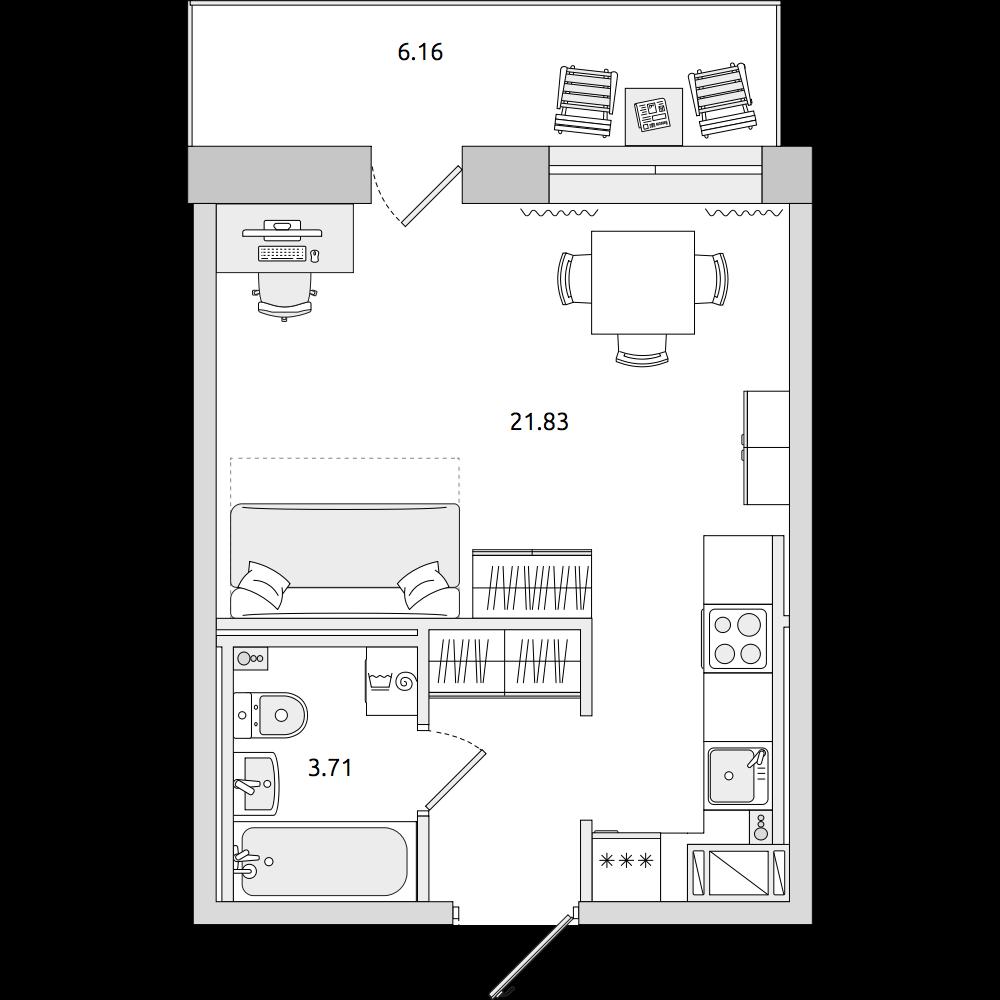 Планировка Студия площадью 34.91 кв.м в ЖК «ЦДС «Северный»»