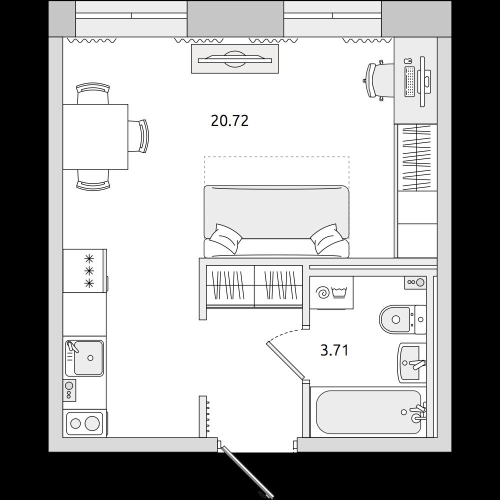 Планировка Студия площадью 27.64 кв.м в ЖК «ЦДС «Северный»»