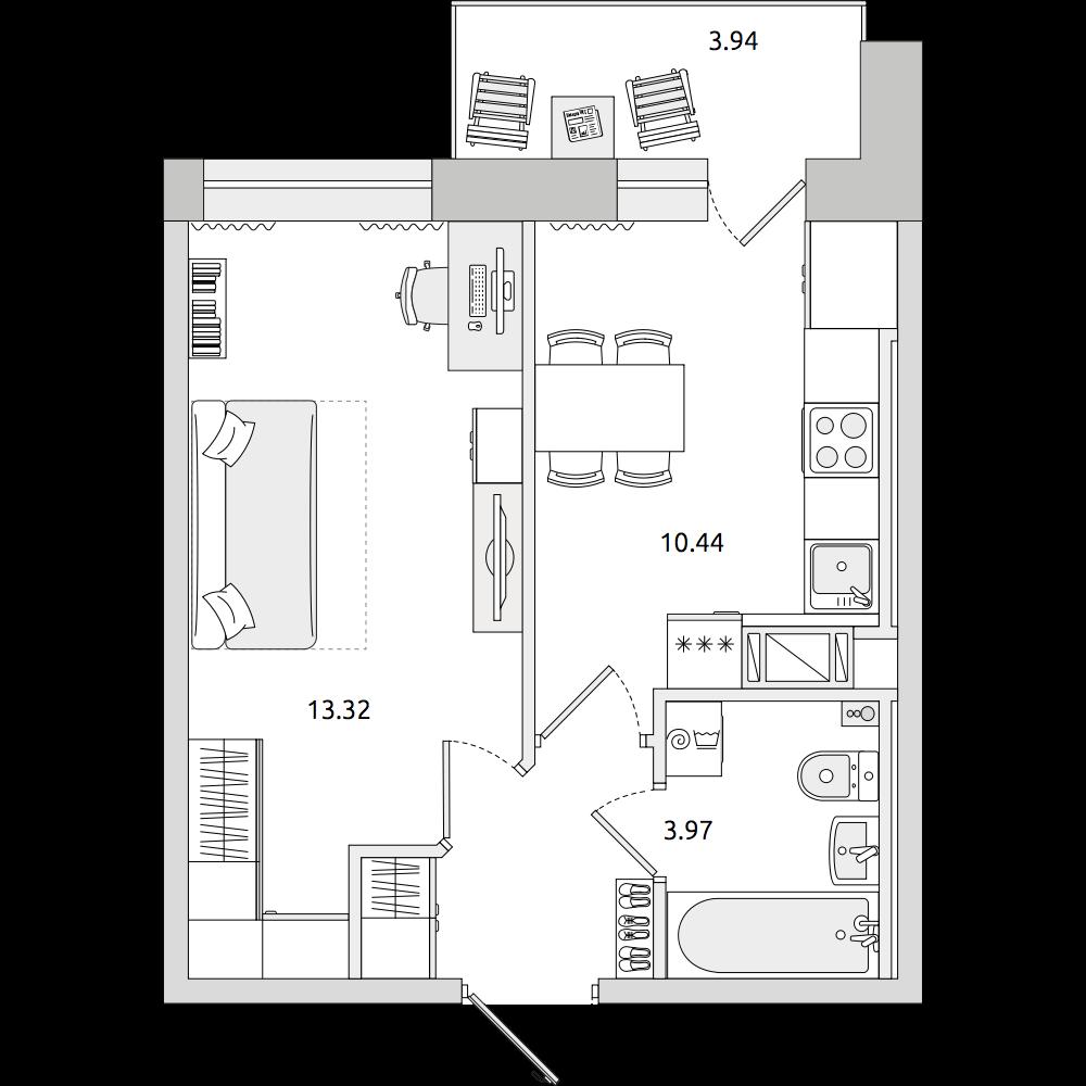 Планировка Однокомнатная квартира площадью 36.68 кв.м в ЖК «ЦДС «Северный»»