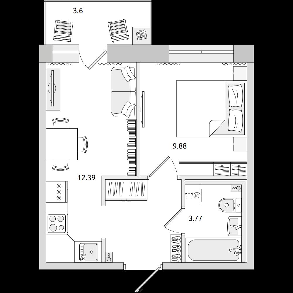 Планировка Двухкомнатная квартира площадью 34.87 кв.м в ЖК «ЦДС «Северный»»