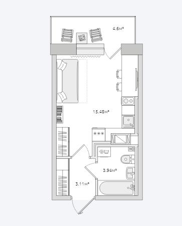 Планировка Студия площадью 27.13 кв.м в ЖК «Северный ЖК»