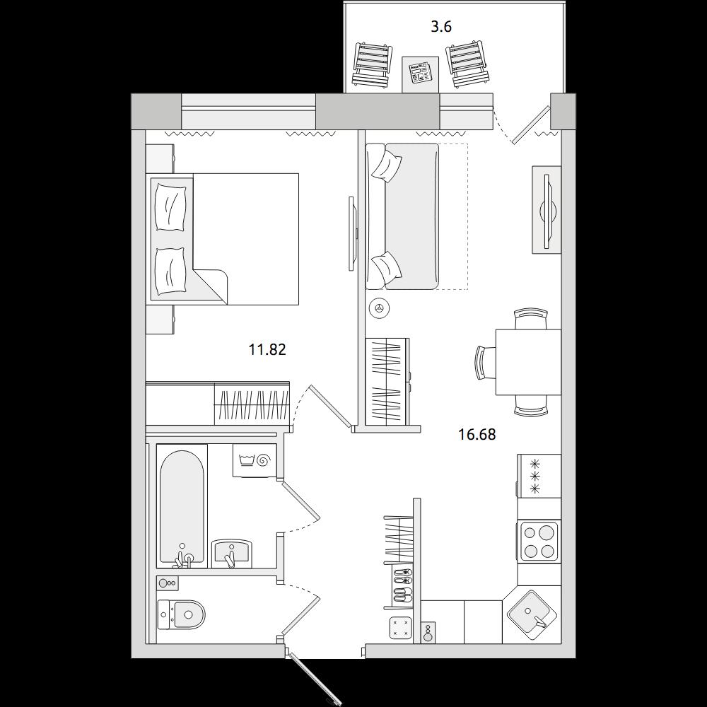 Планировка Двухкомнатная квартира площадью 41.88 кв.м в ЖК «ЦДС «Северный»»