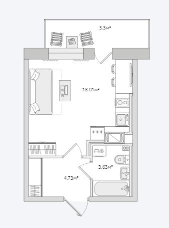 Планировка Студия площадью 31.87 кв.м в ЖК «Северный ЖК»