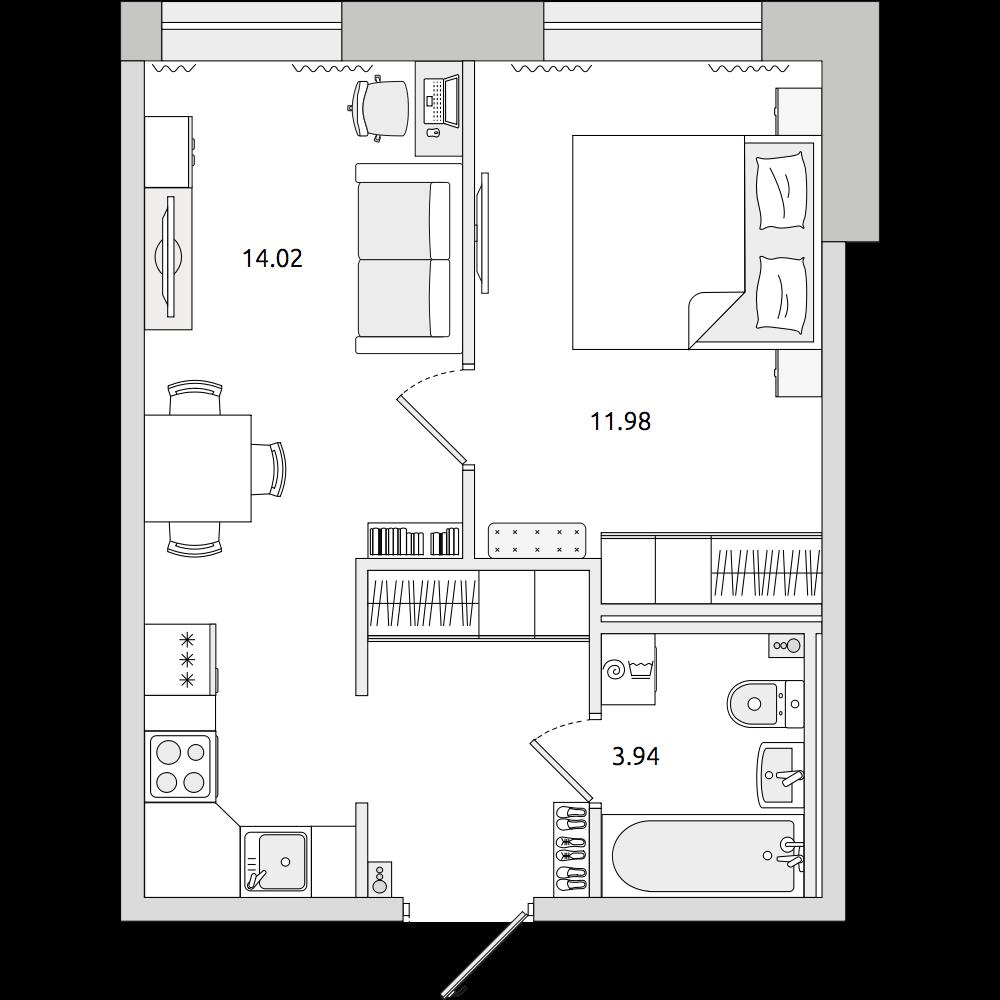 Планировка Двухкомнатная квартира площадью 34.2 кв.м в ЖК «ЦДС «Северный»»