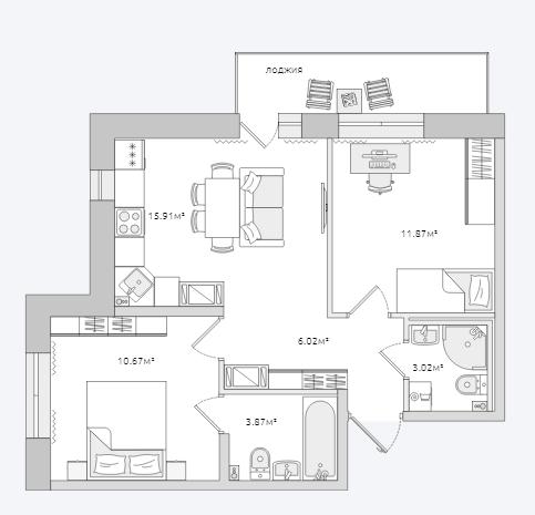 Планировка Двухкомнатная квартира площадью 57.36 кв.м в ЖК «Северный ЖК»