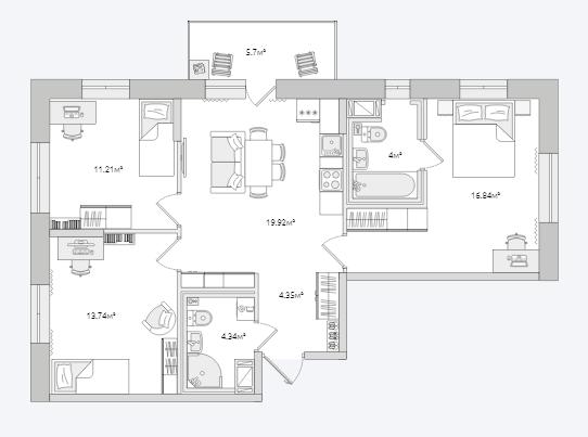 Планировка Трёхкомнатная квартира площадью 80.1 кв.м в ЖК «Северный ЖК»