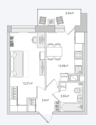 Планировка Однокомнатная квартира площадью 37.03 кв.м в ЖК «Северный ЖК»