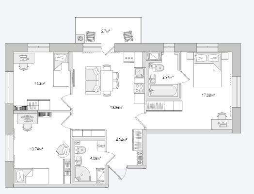 Планировка Трёхкомнатная квартира площадью 80.12 кв.м в ЖК «Северный ЖК»