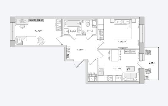 Планировка Двухкомнатная квартира площадью 60.36 кв.м в ЖК «Северный ЖК»