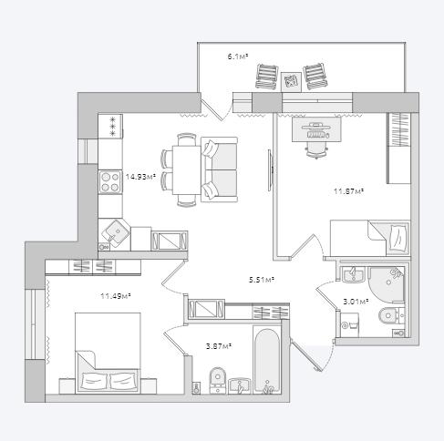 Планировка Двухкомнатная квартира площадью 56.78 кв.м в ЖК «Северный ЖК»