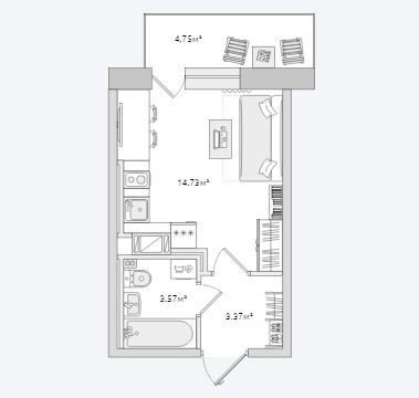 Планировка Студия площадью 26.42 кв.м в ЖК «Северный ЖК»