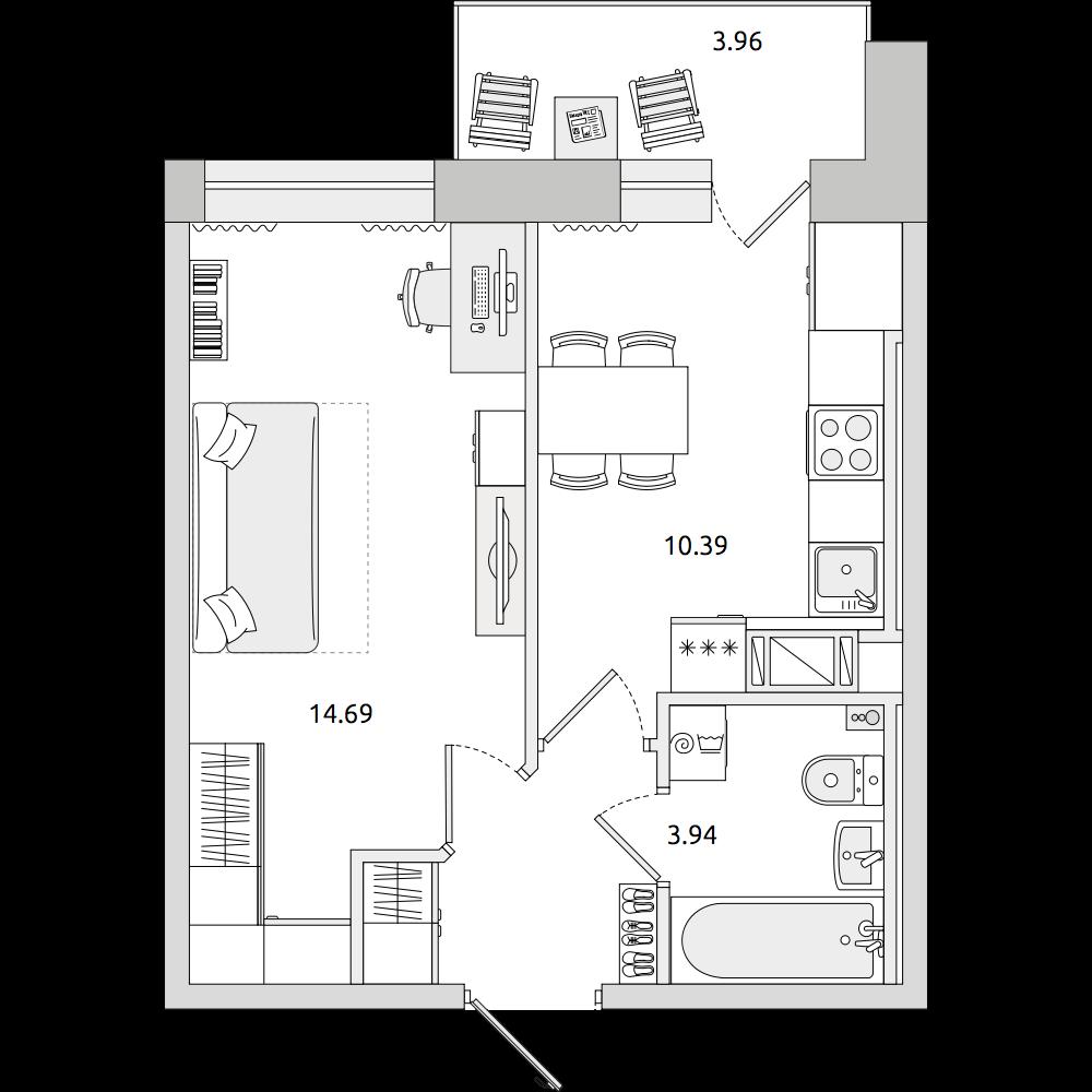 Планировка Однокомнатная квартира площадью 36.46 кв.м в ЖК «ЦДС «Северный»»