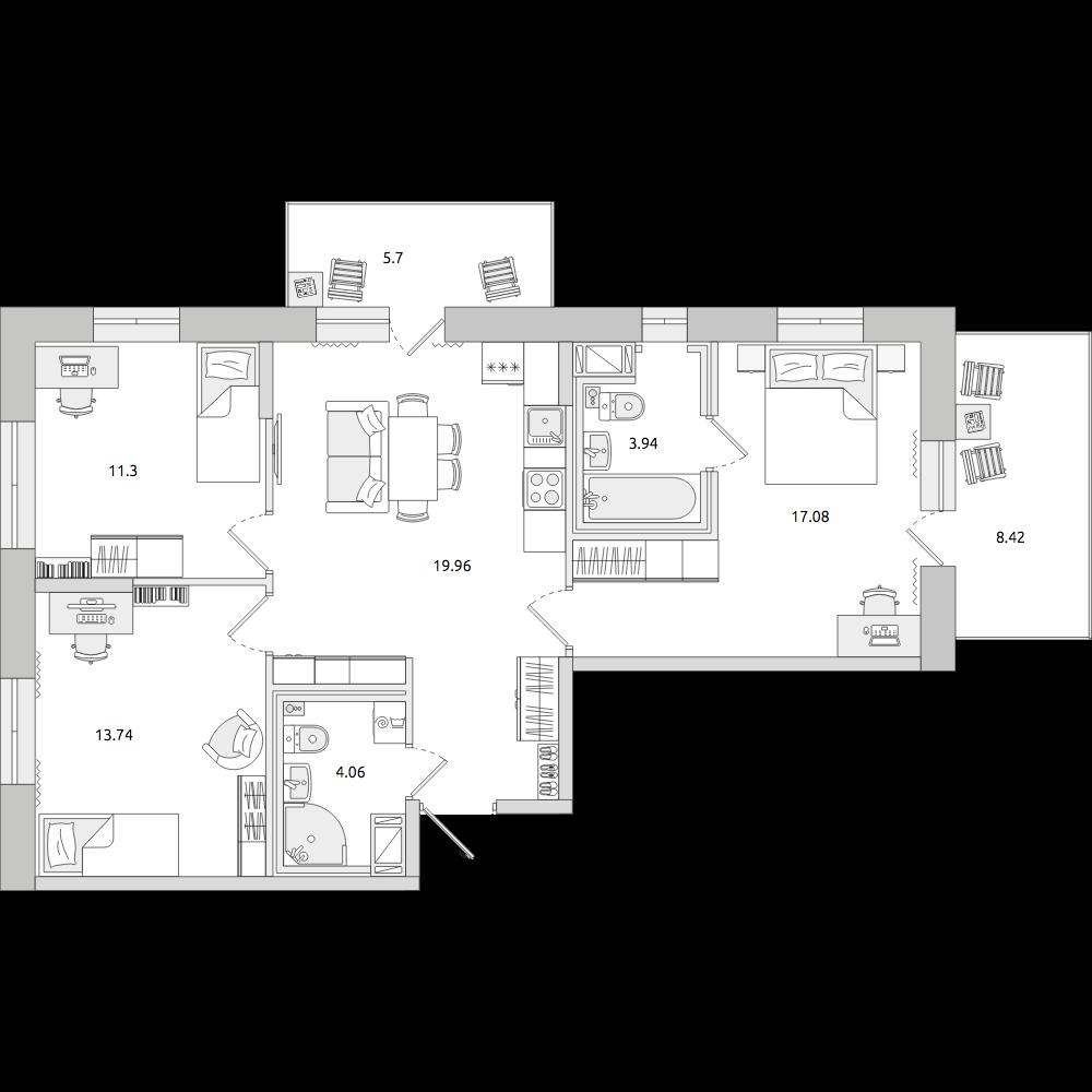 Планировка Четырёхкомнатная квартира площадью 88.54 кв.м в ЖК «ЦДС «Северный»»
