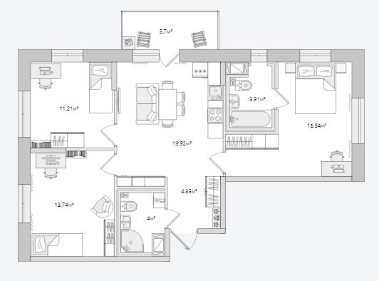 Планировка Трёхкомнатная квартира площадью 79.67 кв.м в ЖК «Северный ЖК»