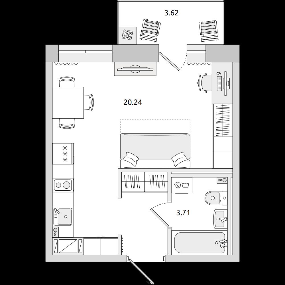 Планировка Студия площадью 30.78 кв.м в ЖК «ЦДС «Северный»»