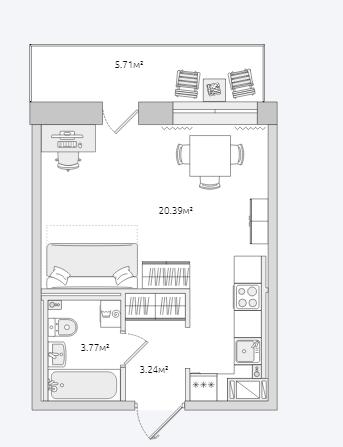 Планировка Однокомнатная квартира площадью 33.11 кв.м в ЖК «Северный ЖК»